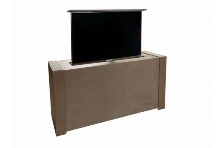 studio modern motorized tv stand with diy lift kit can be place at end of bed