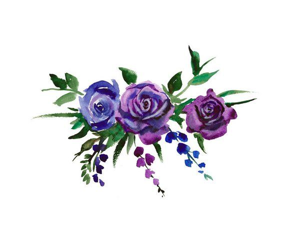 Watercolor Bouquet Flowers Blue And Electric Purple Watercolor