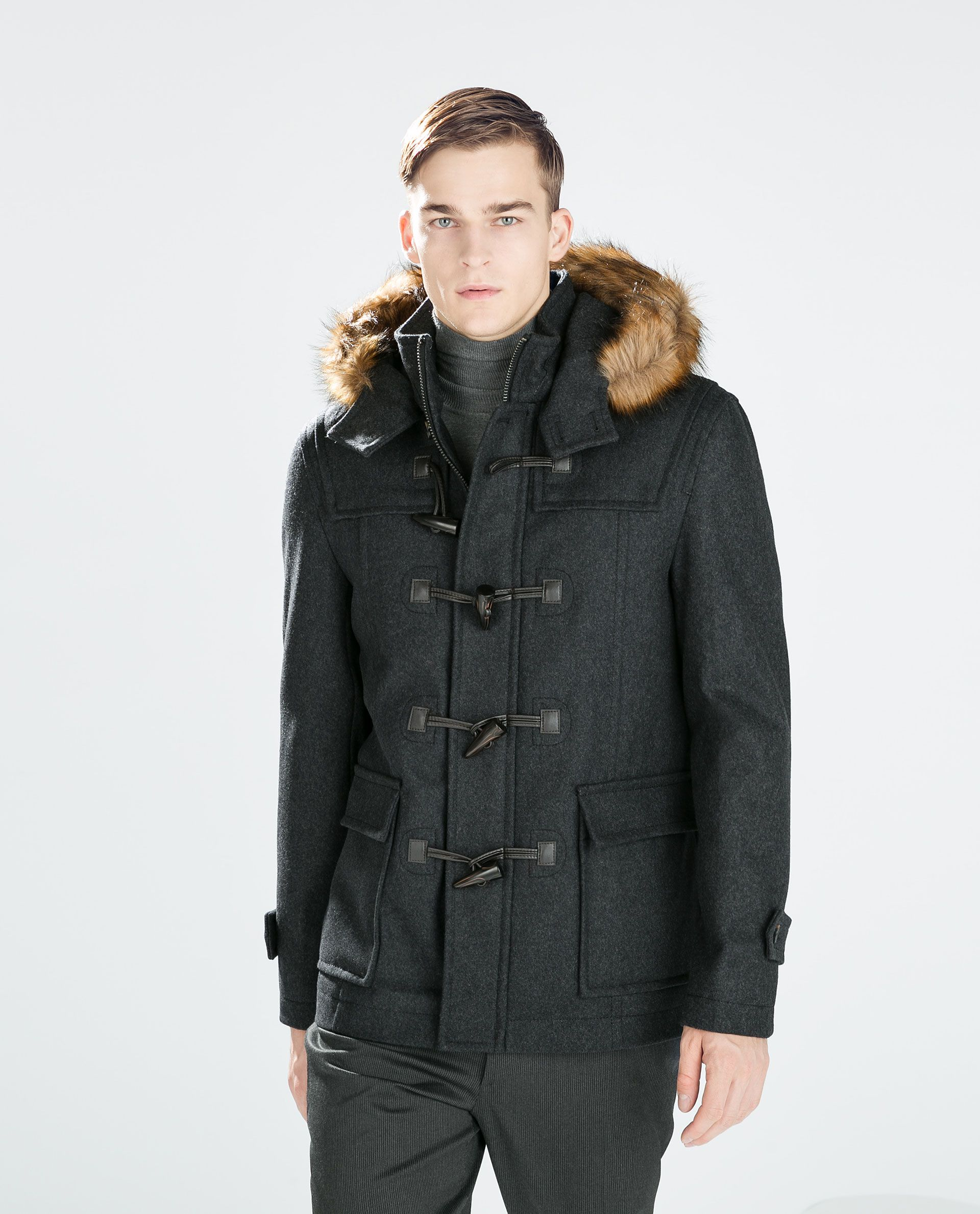Image 3 of HOODED DUFFLE COAT from Zara | Guy Gifts | Pinterest ...