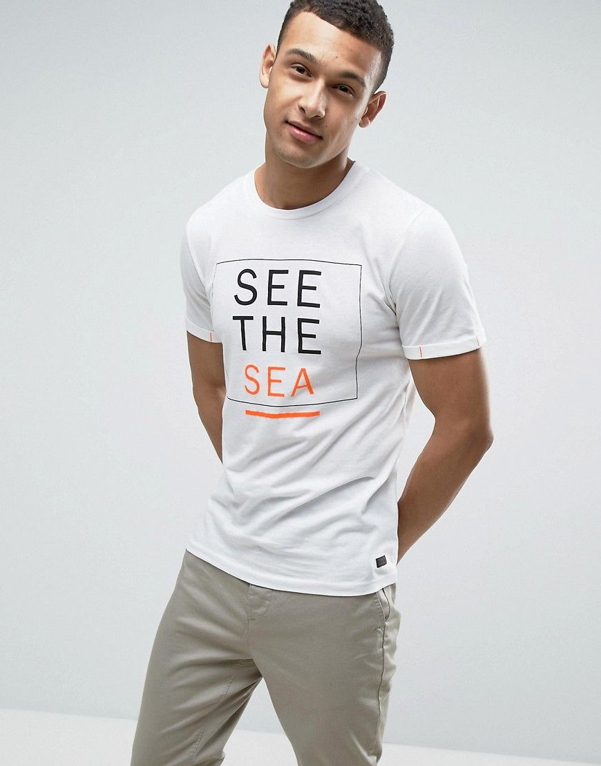Produkt T-Shirt With Sea Print - White | TEXT | T shirt ...