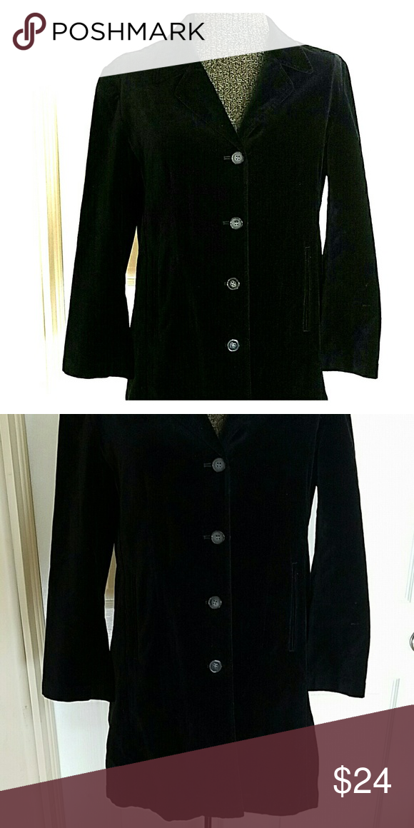 J Jill long black velour jacket Very good condition.  Button down front with small pockets J Jill  Jackets & Coats Pea Coats