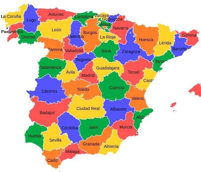 mapa de espanha com as provincias mapa abaixo mostra as províncias da Espanha continental: | viagem  mapa de espanha com as provincias