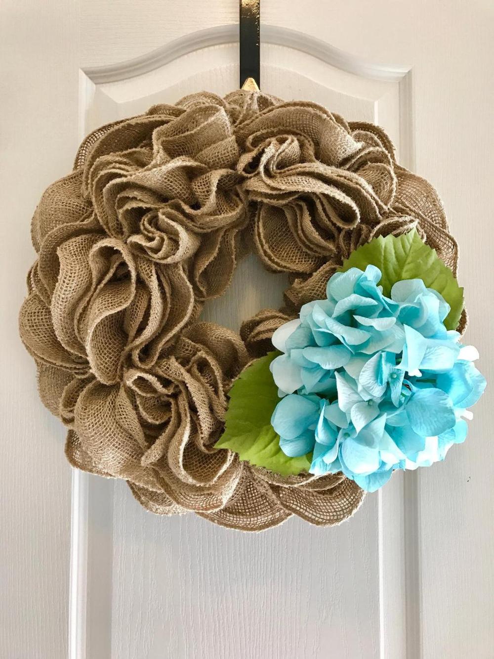 Beautiful ruffle burlap wreath with pink hydrangea Ready to ship! hydrangea wreath fall wreath Summer wreath burlap wreath
