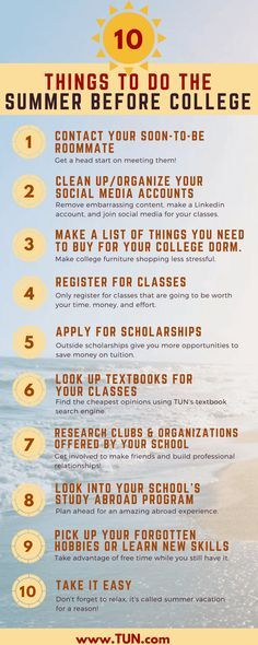 10 Things To Do The Summer Before College CollegeBound Series
