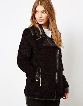 Image 1 ofBarneys Originals Coat With Leather Look Collar