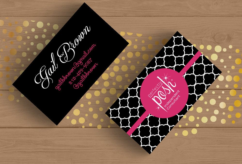 Perfectly Posh Business Card Template Layered Psd No7 Black And