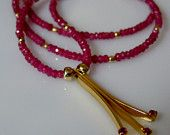 Art Deco Faceted Ruby Rondelle Necklace with NEW Vintage 14K Gold Filled Rubies Pendant $99.00 USD