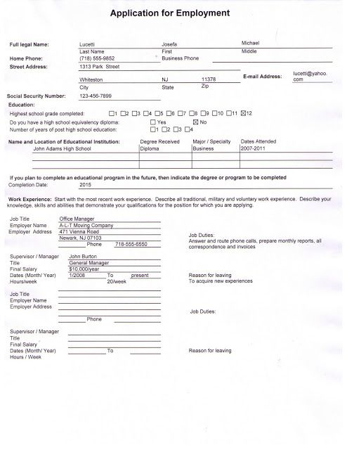 Newark Tech High School SAMPLE COMPLETED JOB APPLICATION - resume high school diploma