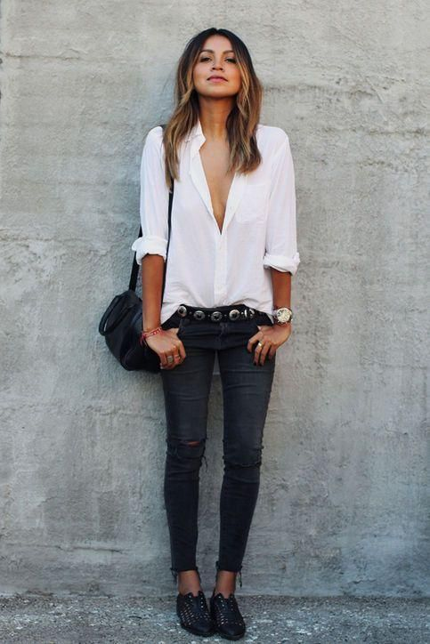 cce2a51e8ba Try Sincerely Jules  easy way to wear black ripped jeans  Tuck in a white  button-down and wear a cool belt. Click for more outfit ideas!