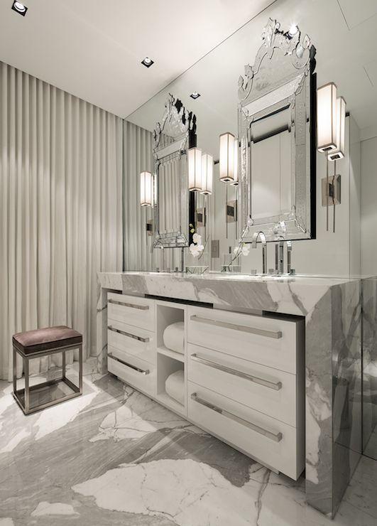 Marble Waterfall Countertop Contemporary Bathroom Michael Dawkins Home Bathroom Interior Luxury Bathroom Dream Bathrooms