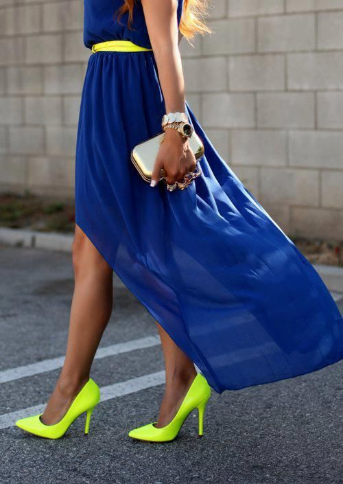 Neon yellow shoes w blue dress.