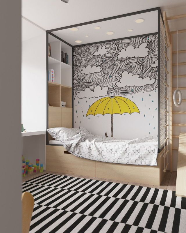 Hand drawn or painted walls in kids bedrooms