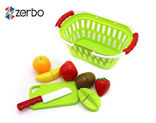 ZERBO Shop and Chop Fruit Play Set for Kids Matching and Learning Play Set >>> See this great product.