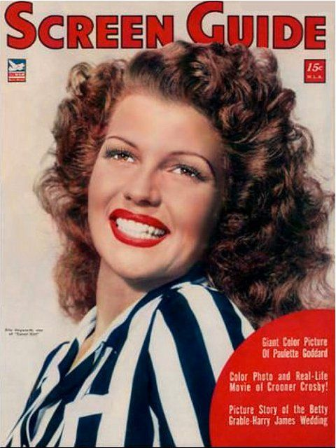 Rita Hayworth on the cover of Screen Guide magazine, October 1943, USA.