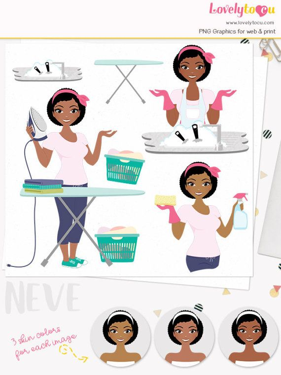 Laundry woman character clipart housework chores woman