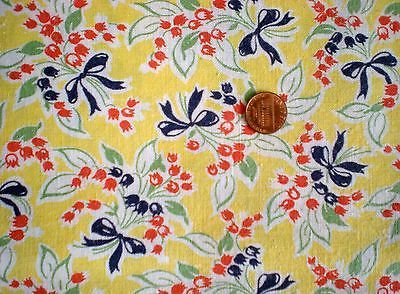 FLORAL-on-YELLOW-Vtg-FEEDSACK-Quilt-Sewing-Doll-Clothes-Craft-Cotton-Fabric