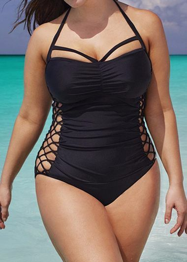 aaf7a1dc3b632 Black Halter Neck Plus Size Black One-piece Swimsuit with cutout side  panels.