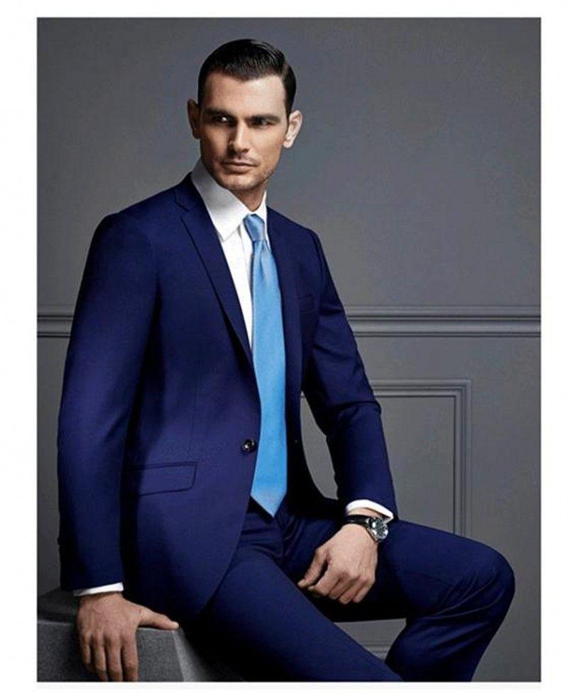 Custom Made Groomsmen Notch Lapel Groom Tuxedos Royal Blue Mens ...