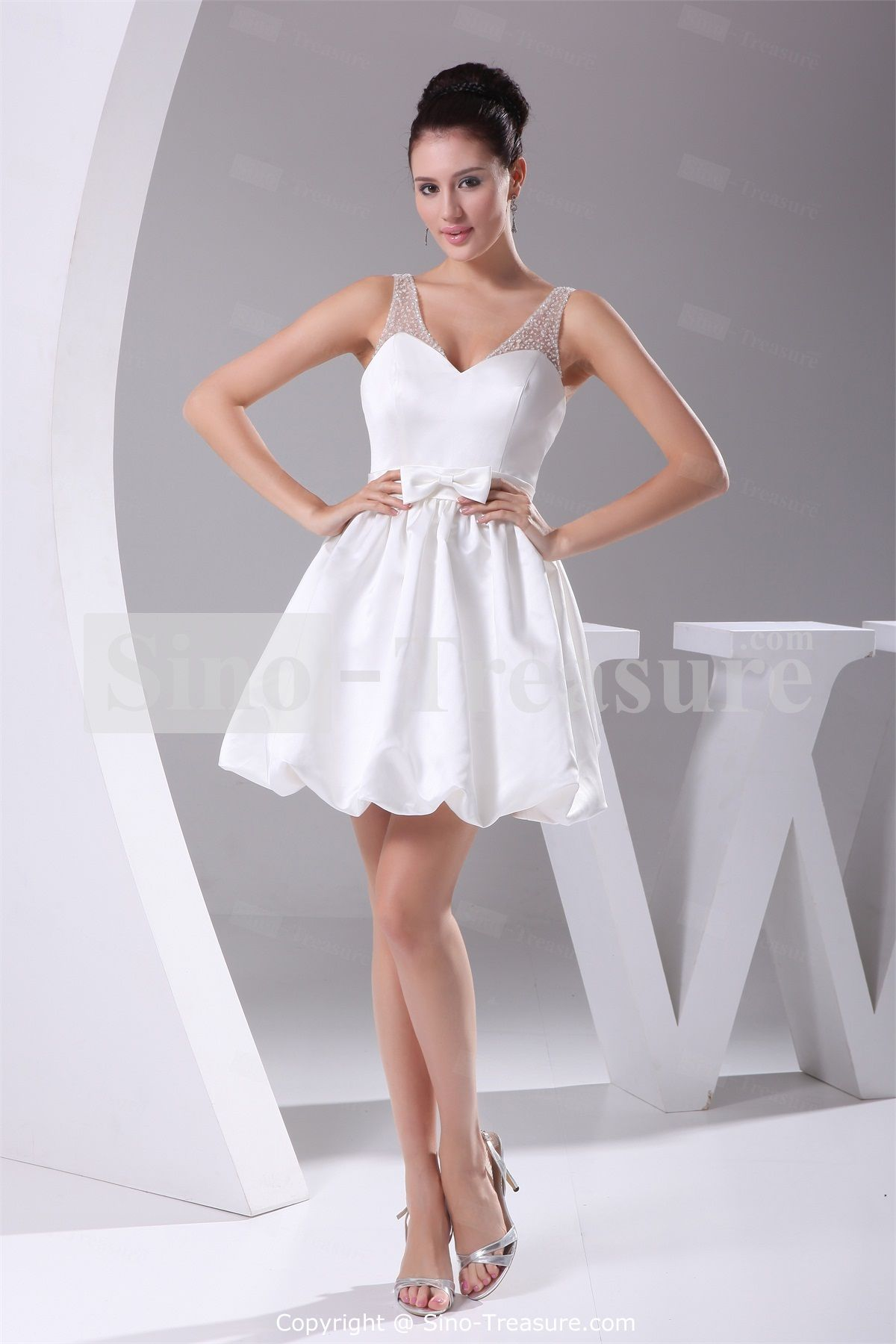 Mini Short Satinfine Netting Backless Sleeveless Beach Wedding