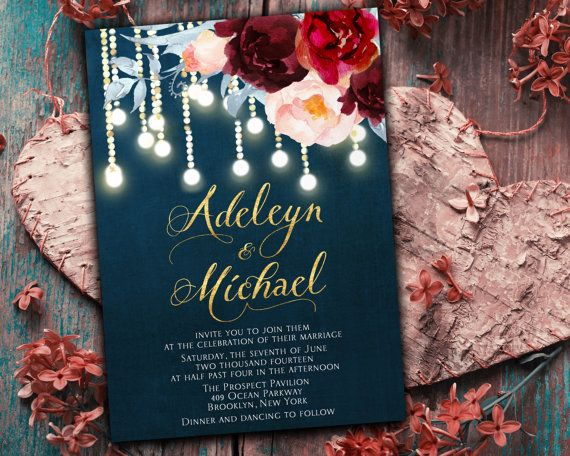 Buy printable from Etsy and print at FedEx Kinko's. Navy blue burgundy Wedding Invitation printable - wedding invitation set, elegant wedding invitation, ...