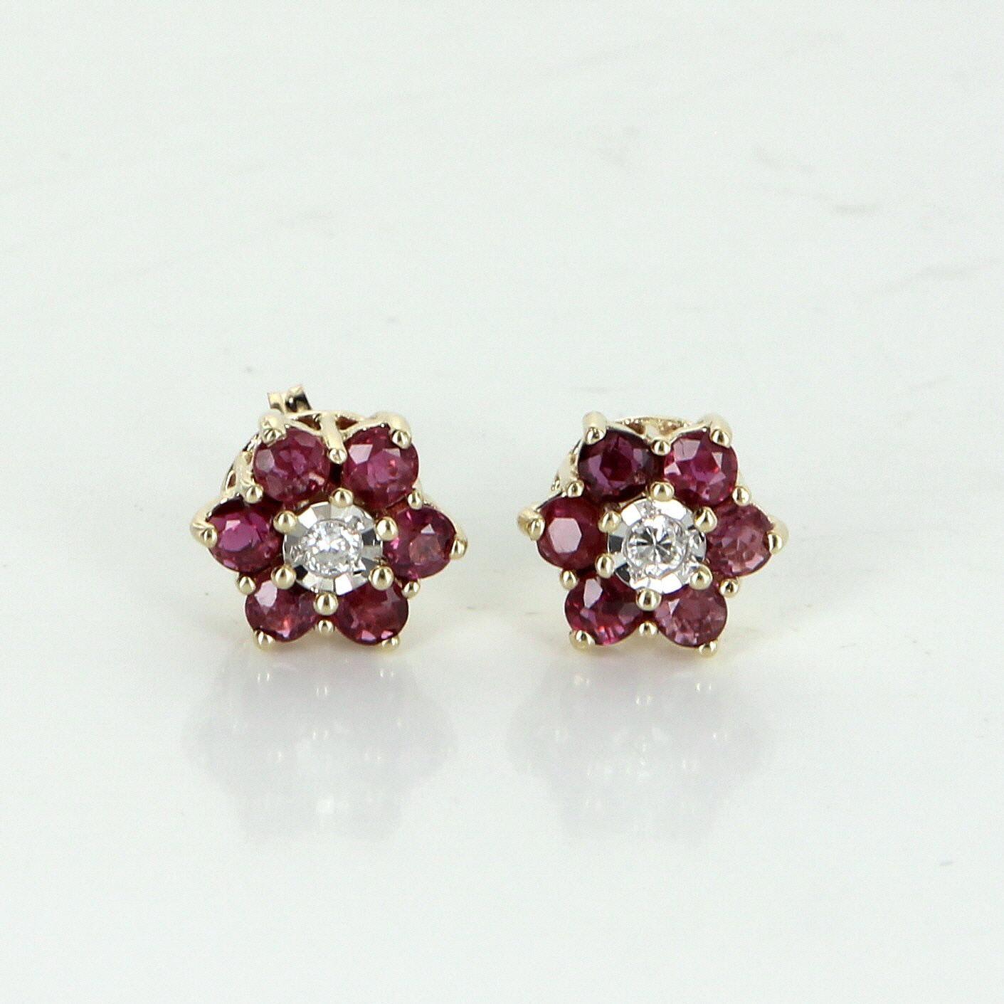 Ruby Diamond Flower Stud Earrings Vintage 14 Karat Yellow Gold