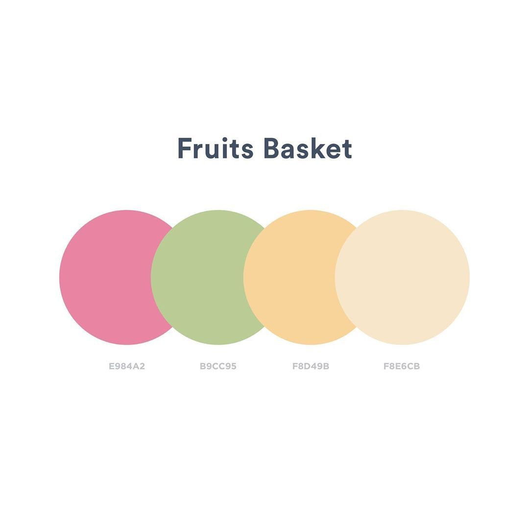 Color schemes, palettes, combinations - Pink, green, orange, yellow