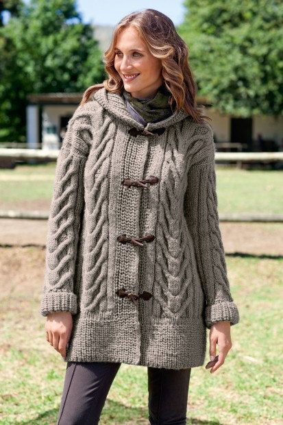 Women S Hand Knit Hooded Cardigan Cabled Cardigan By Bandoftailors