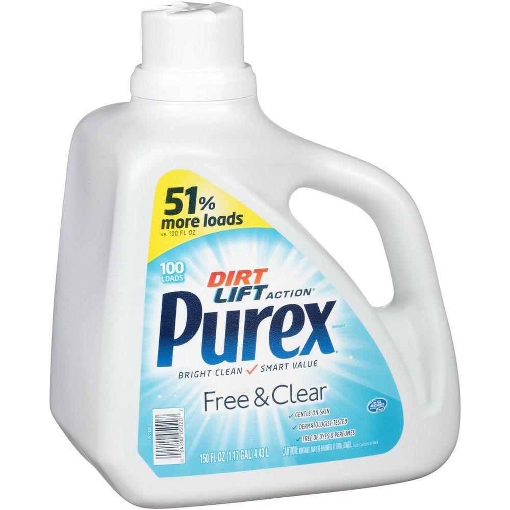 Purex Free Clear Liquid Laundry Detergent Hypoallergenic 100 Loads 150 Fl Oz Purex Laundry Detergent Liquid Laundry Detergent Purex