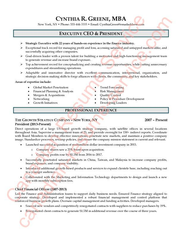 Exectutive CEO President Resume Sample 1 of 2 Job Interviews and
