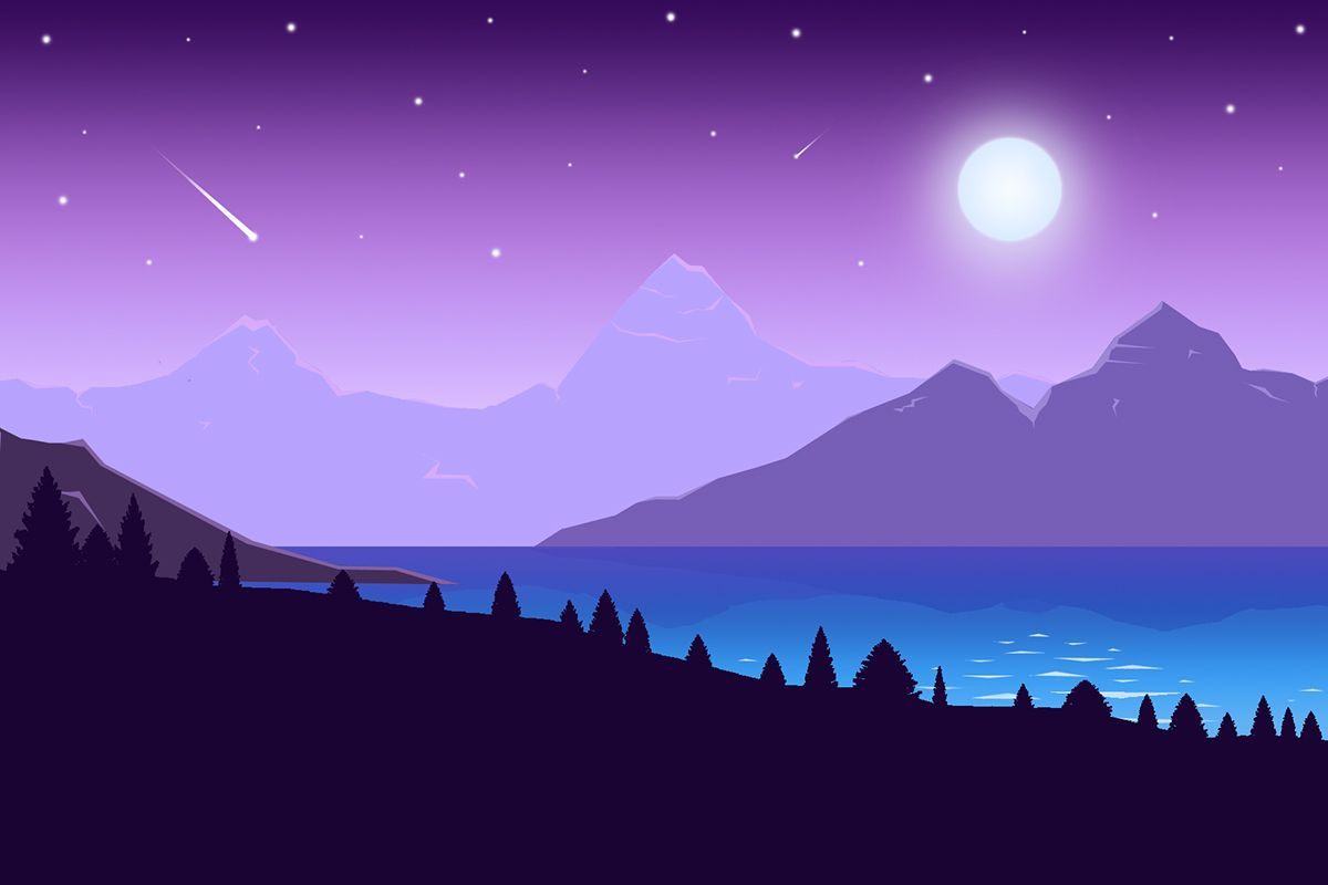 Night Time Mountains Flat Landscape On Behance Landscape Wallpaper Desktop Wallpaper Art Minimalist Wallpaper