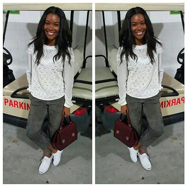1ef07302bb92 Actress Gabrielle Union casual fashion style.