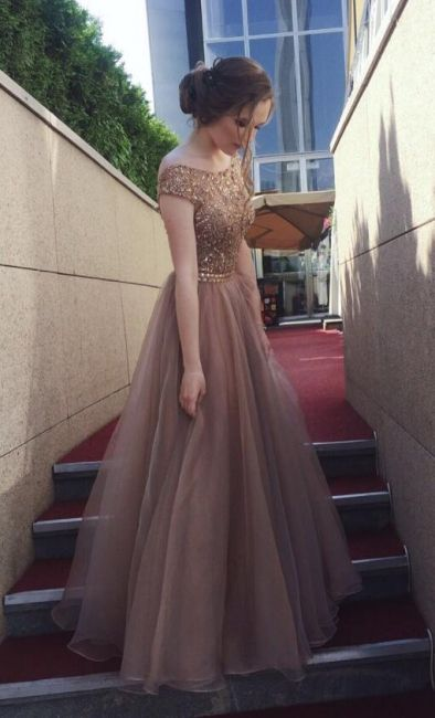 Designer Brau Abendkleider Lang Günstig Perlen Etutkleider ...