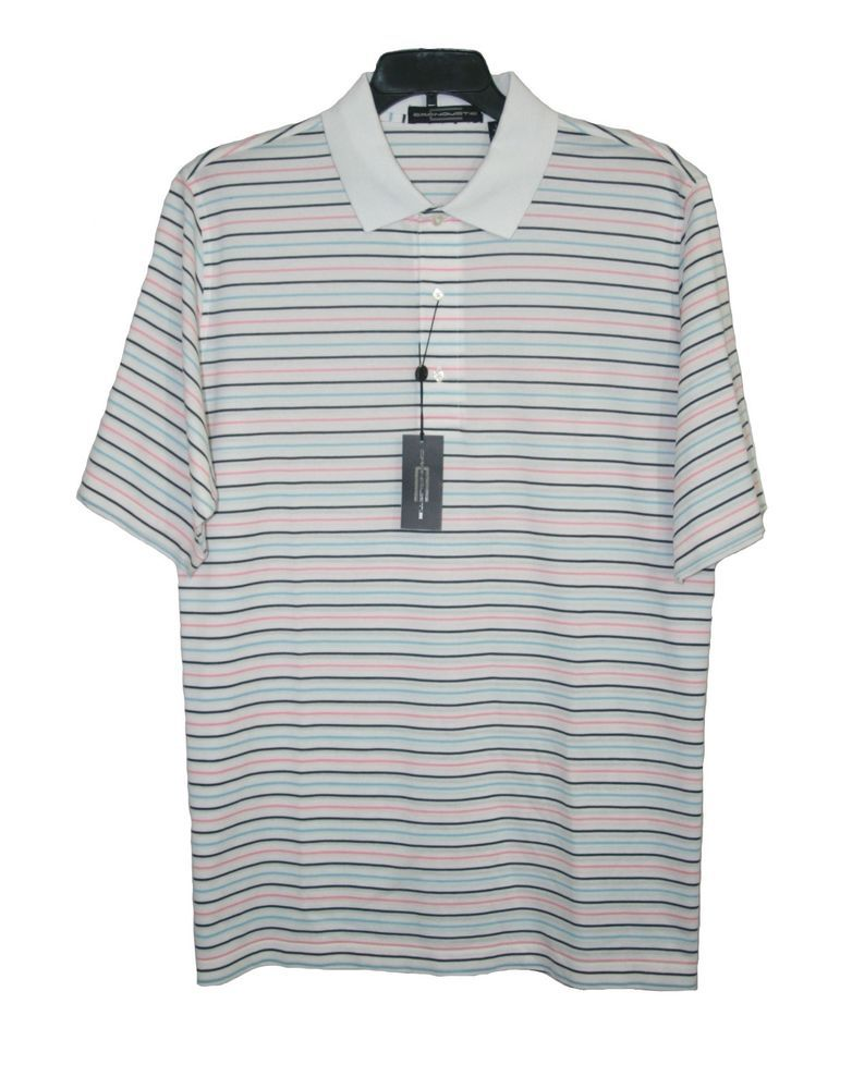 7ef54211 Carnoustie White Striped Golf Polo Shirt Large L Mercerized Cotton NWT $95  #Carnoustie #mensfashion #golf #menswear
