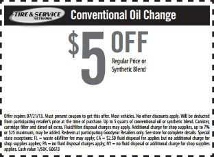 Goodyear Conventional Oil Change Coupon For June July 2013