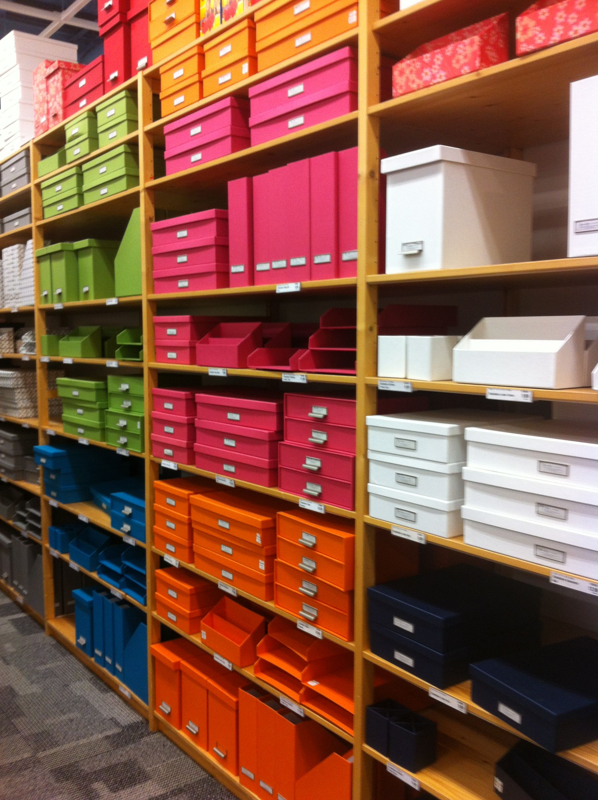 office organization, color coded, bright colors, storage, shelving