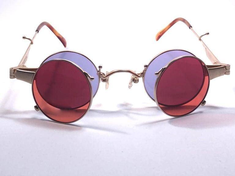 New Rare Vintage Kenzo Ke2876 Hinged Gold Sunglasses 1980 S Made In Japan In 2021 Gold Sunglasses Sunglasses Kenzo