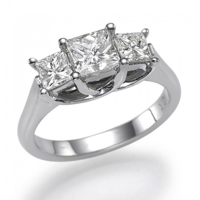 Diamond Three Stone Engagement Ring   Trilogy PR   1 Carat 1.00ct .