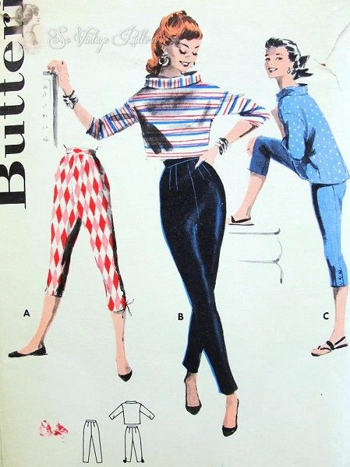 1950s BUTTERICK 7557 Sleek Marilyn Monroe Style Figure Hugging Tapered Pants or Capri with Boxy Blouse or Crop Top Flattering Stand Away Large Cuff Collar Rockabilly Bust 32 Vintage Sewing Pattern