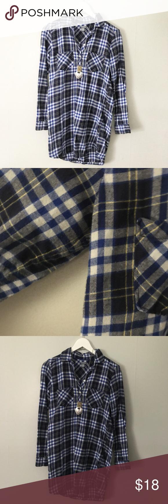Flannel shirt xs  Aerie Blue Plaid Flannel Shirt Dress XS  Tartan Blue plaid and