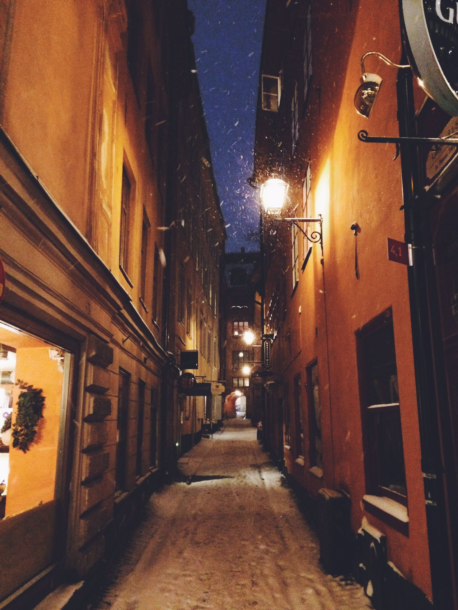 Typical street in old town of Stockholm. And typical evening, because it's about 4:30 p.m.