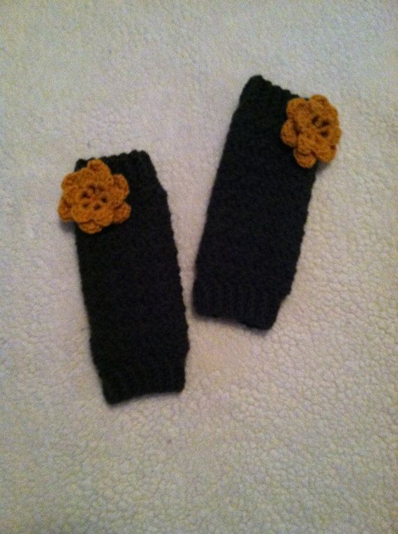 Toddler Girl Crocheted Leg Warmers with Contrasting Flower on Etsy, $18.00