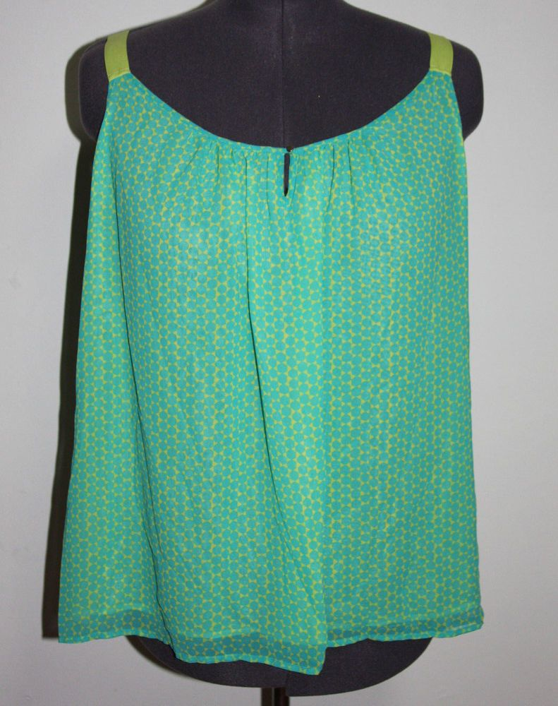 210f6c4e NWT Lane Bryant 26W Lime Green & Aqua Blue Geometric Tank Sleeveless Top # LaneBryant #plussize #fashion #retrolook