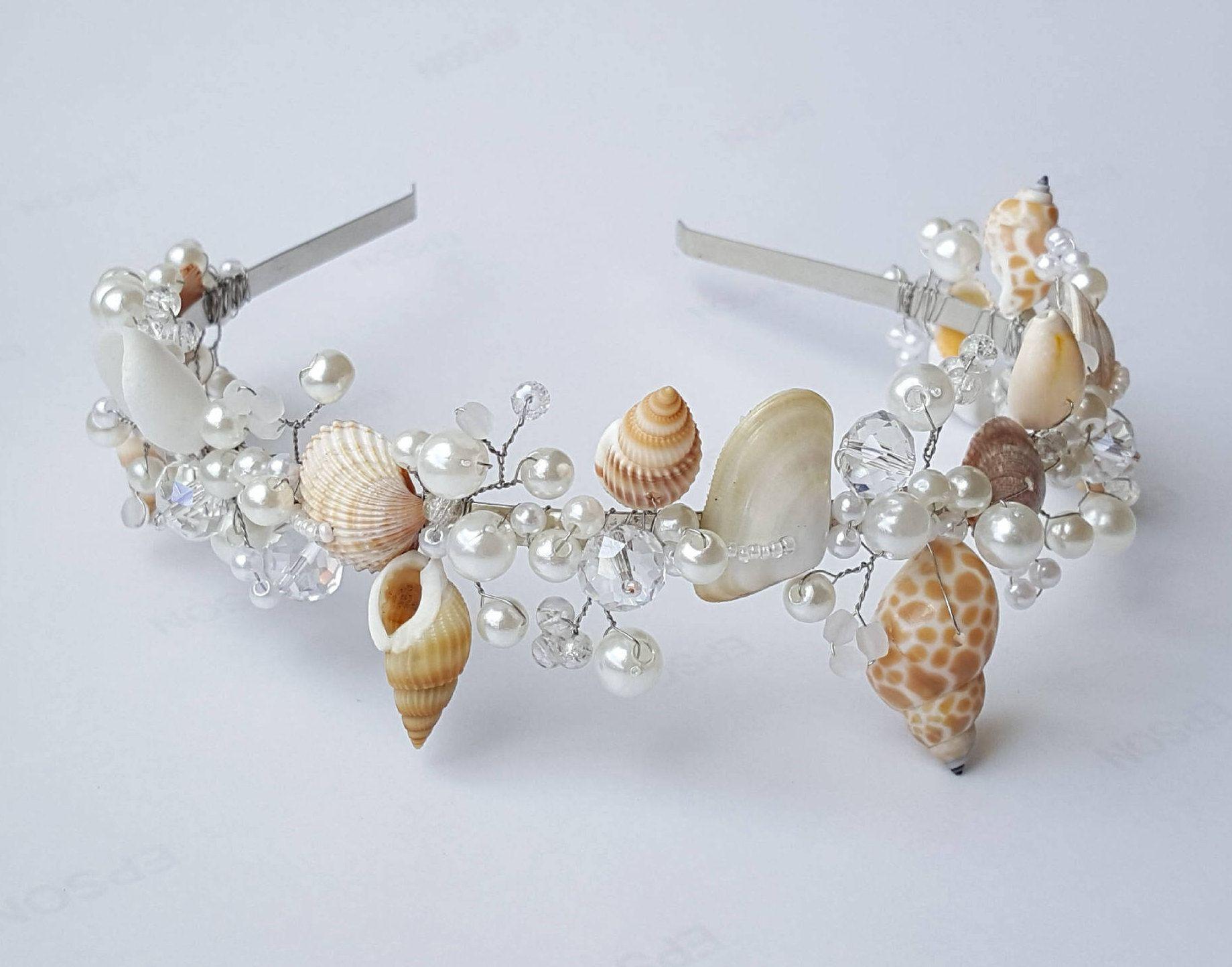 Beach Bridal Tiara Wedding Seashell Headpiece Mermaid Crown