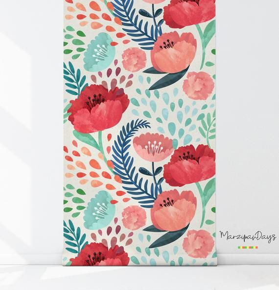 Poppy wallpaper Poppies wall mural, Vintage floral
