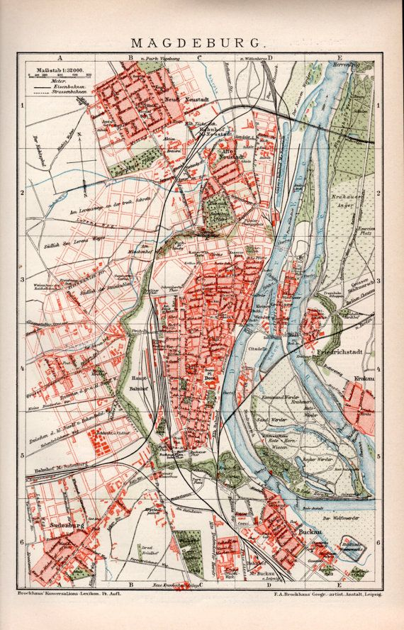 1898 Magdeburg Germany Old Map Antique Print Vintage Lithograph