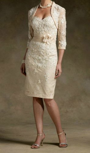 2e5cbadc3b4 New Champagne Short Lace Wedding Mother of The Bride Dress Free Jacket  Custom