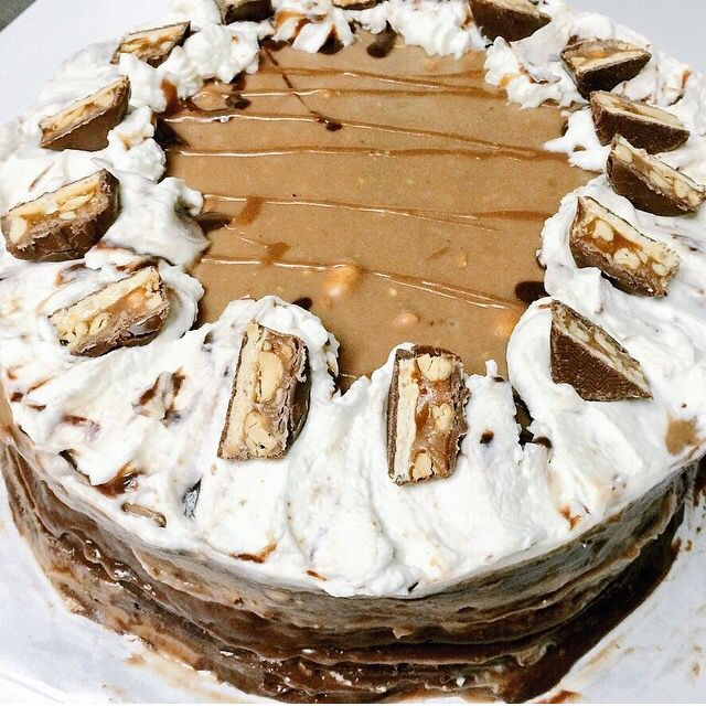 Snickers cheesecake cake I made for Dan's birthday!
