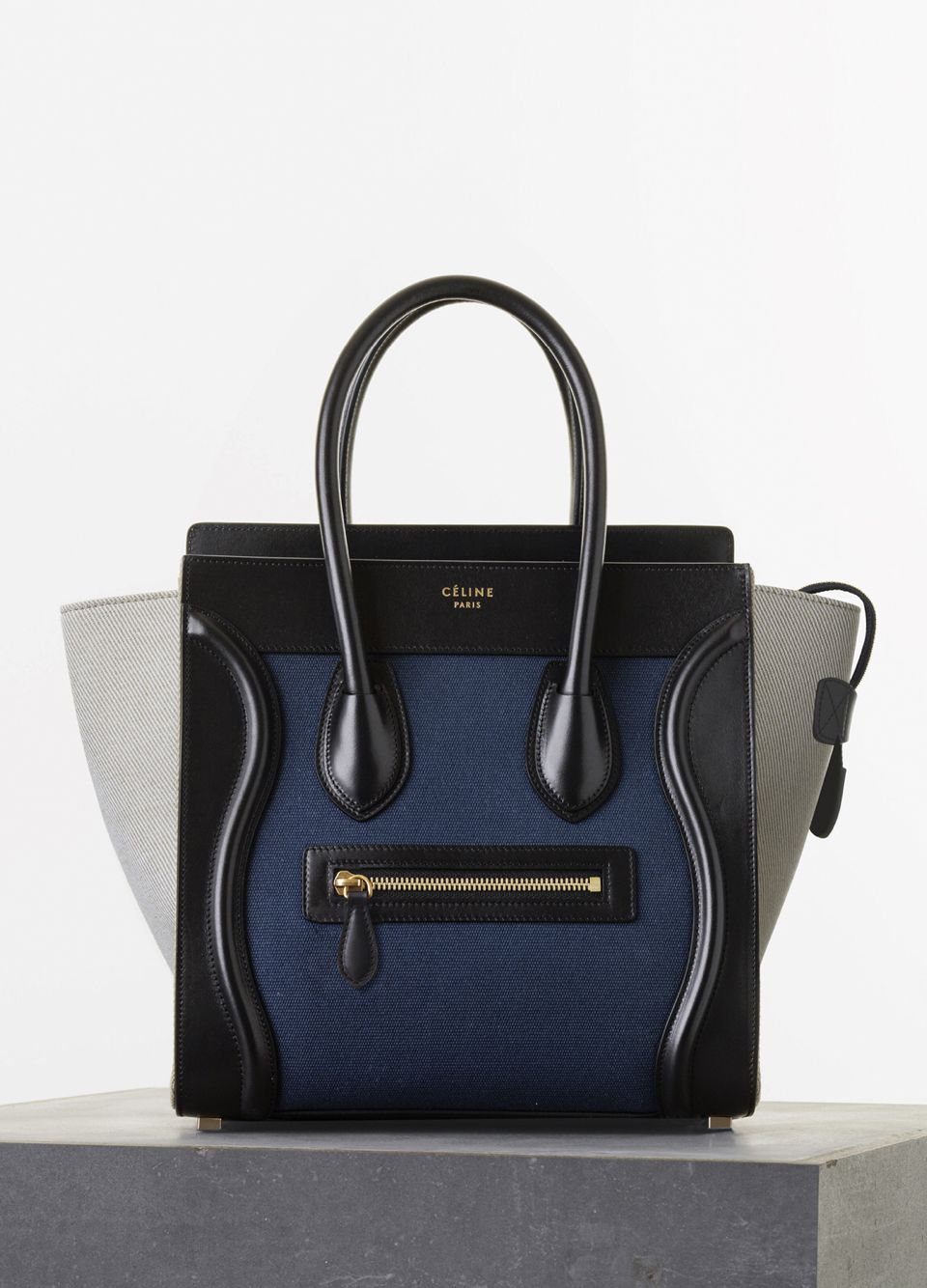 Céline Micro Luggage Handbag In Navy Multicolor Textile 2 350 This Colorblock Palette Is Definitely Straight Up My Alley Grey White Blue Black