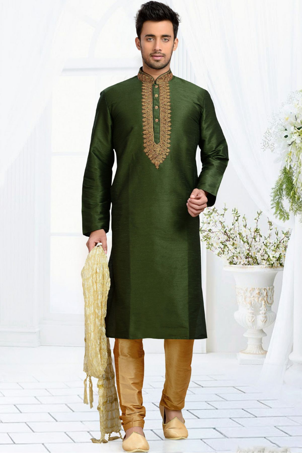 99ebafdfc5 This Kurta Pajama Is Perfect One Crafted With Embroidery Work. The Green  Colour Kurta Is