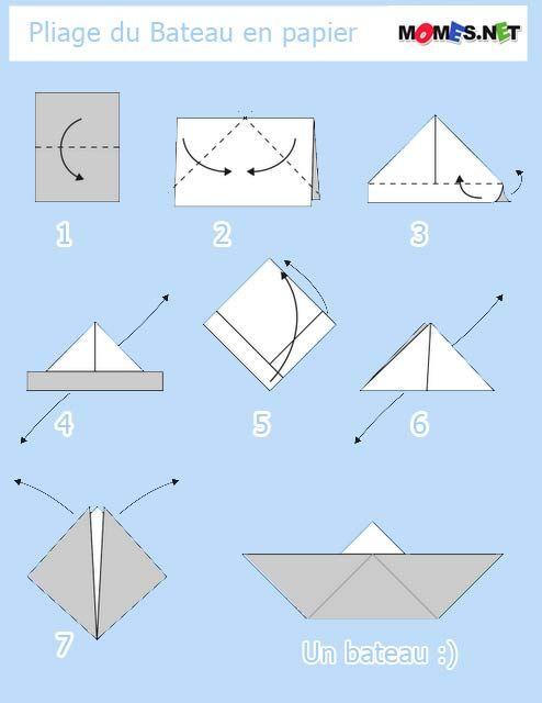 Bateau en papier bricolage - Pliage origami facile ...